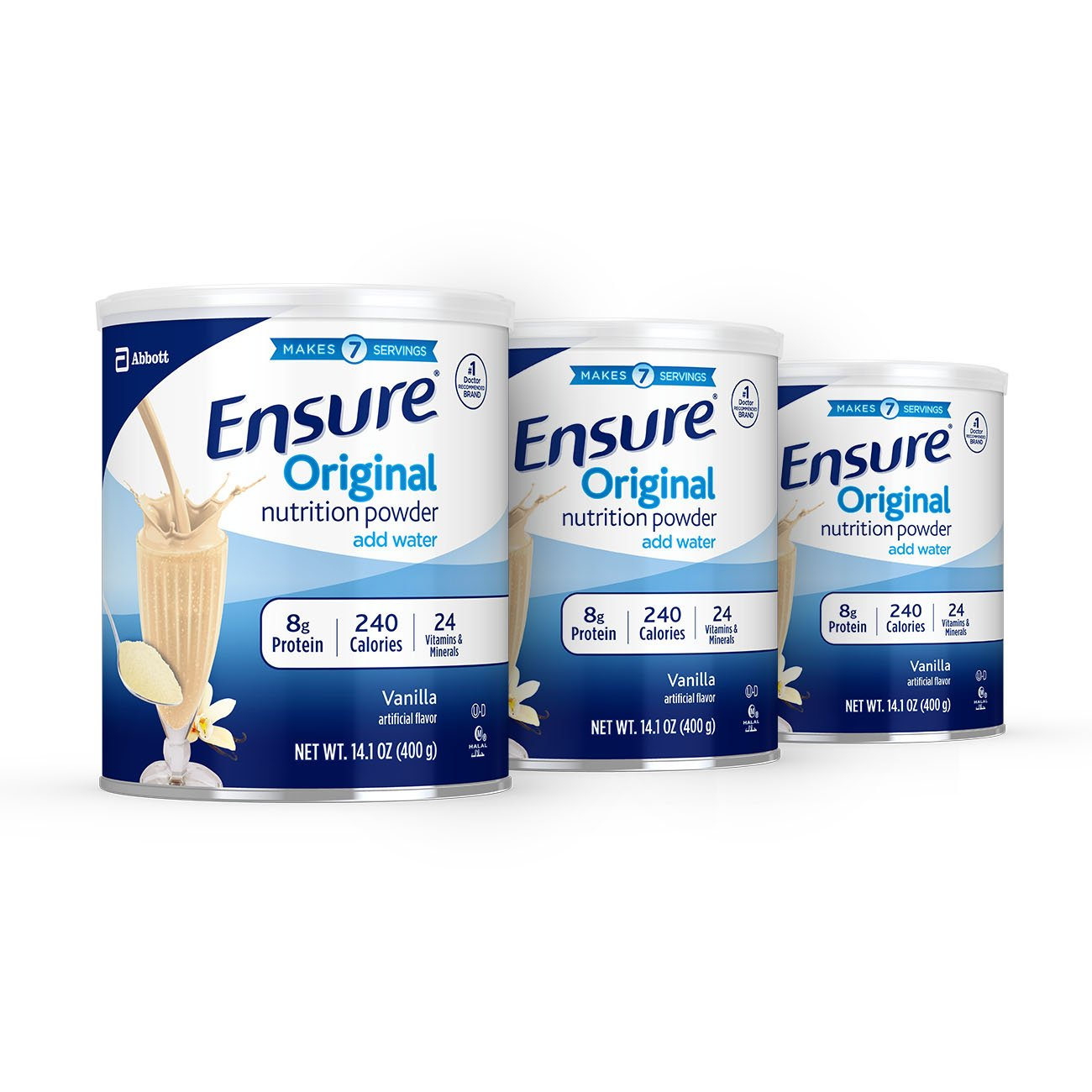 Ensure Original Nutrition Powder with 8 grams of protein, Meal Replacement, Vanilla, 14 oz(Pack of 3)
