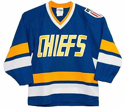 Amazon.com   Charlestown Chiefs Slap Shot Blue Away Youth Jersey ... acb3d45f9