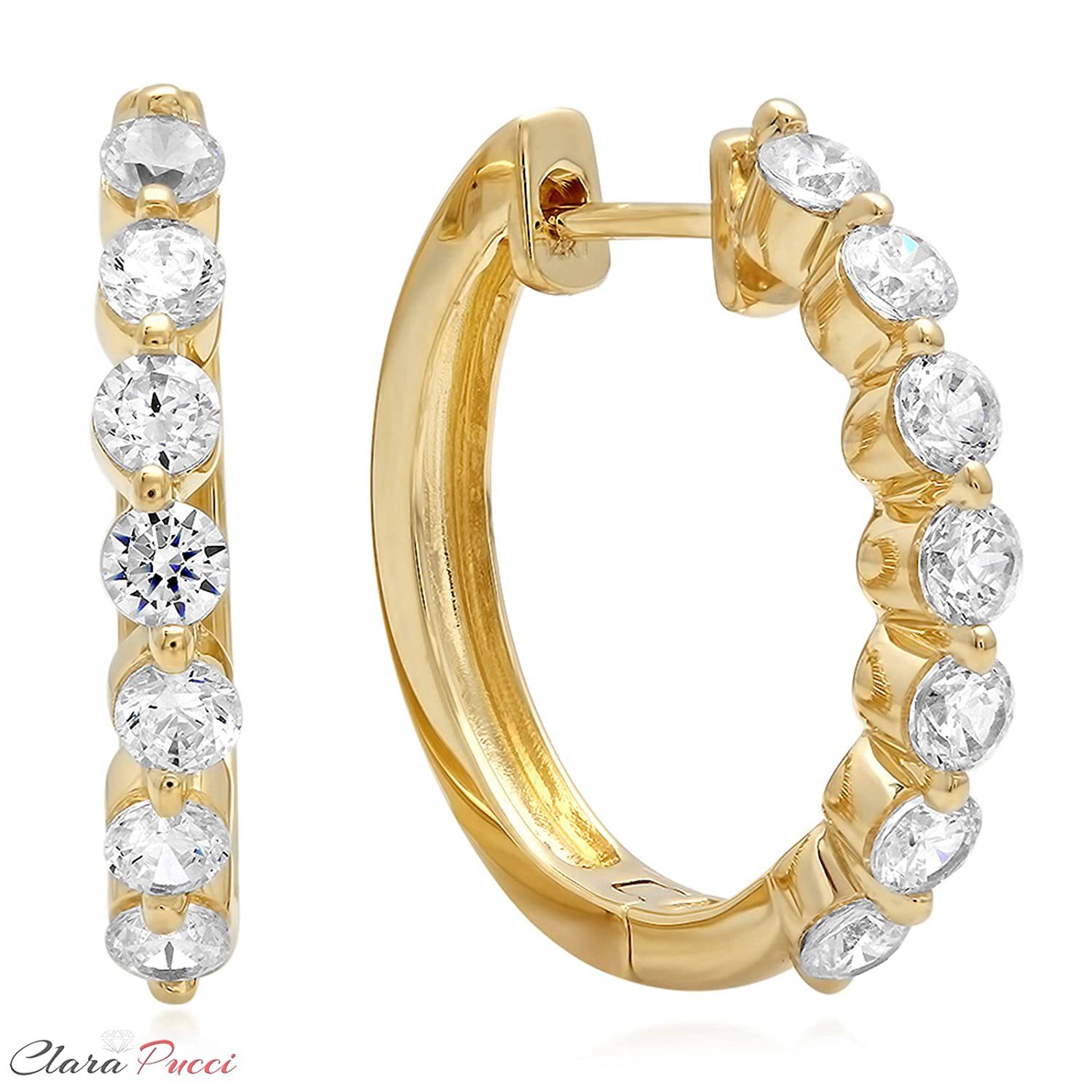 0.7 CT 7-STONE Hoop Solitaire BRILLIANT ROUND CUT Simulated Diamond CZ EARRINGS 14K Yellow GOLD