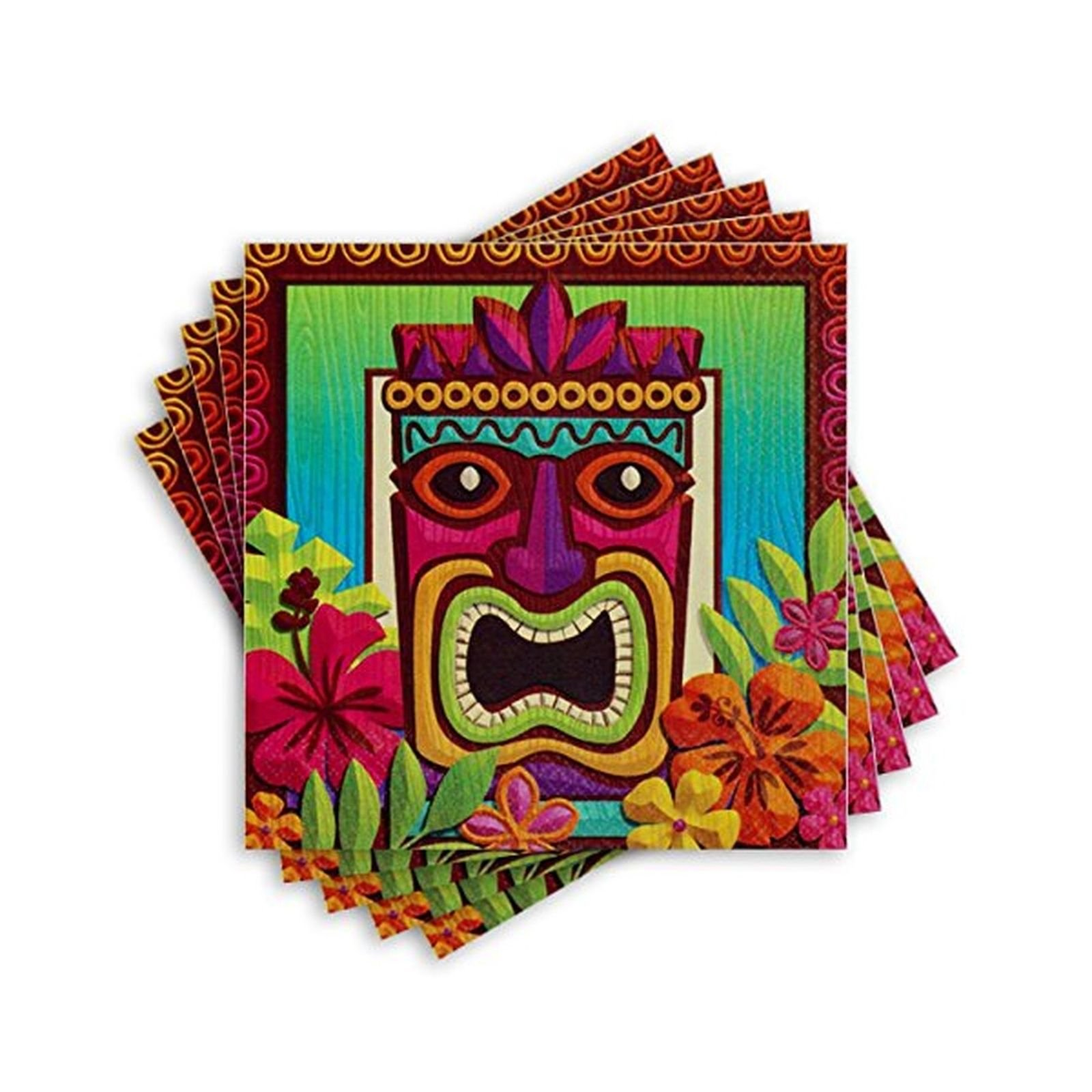 Amscan Sun-Sational Summer Luau Tropical Tiki Luncheon Napkins Paper 65'' x 65'' Pack 125 Party Supplies , 750 Pieces by Amscan