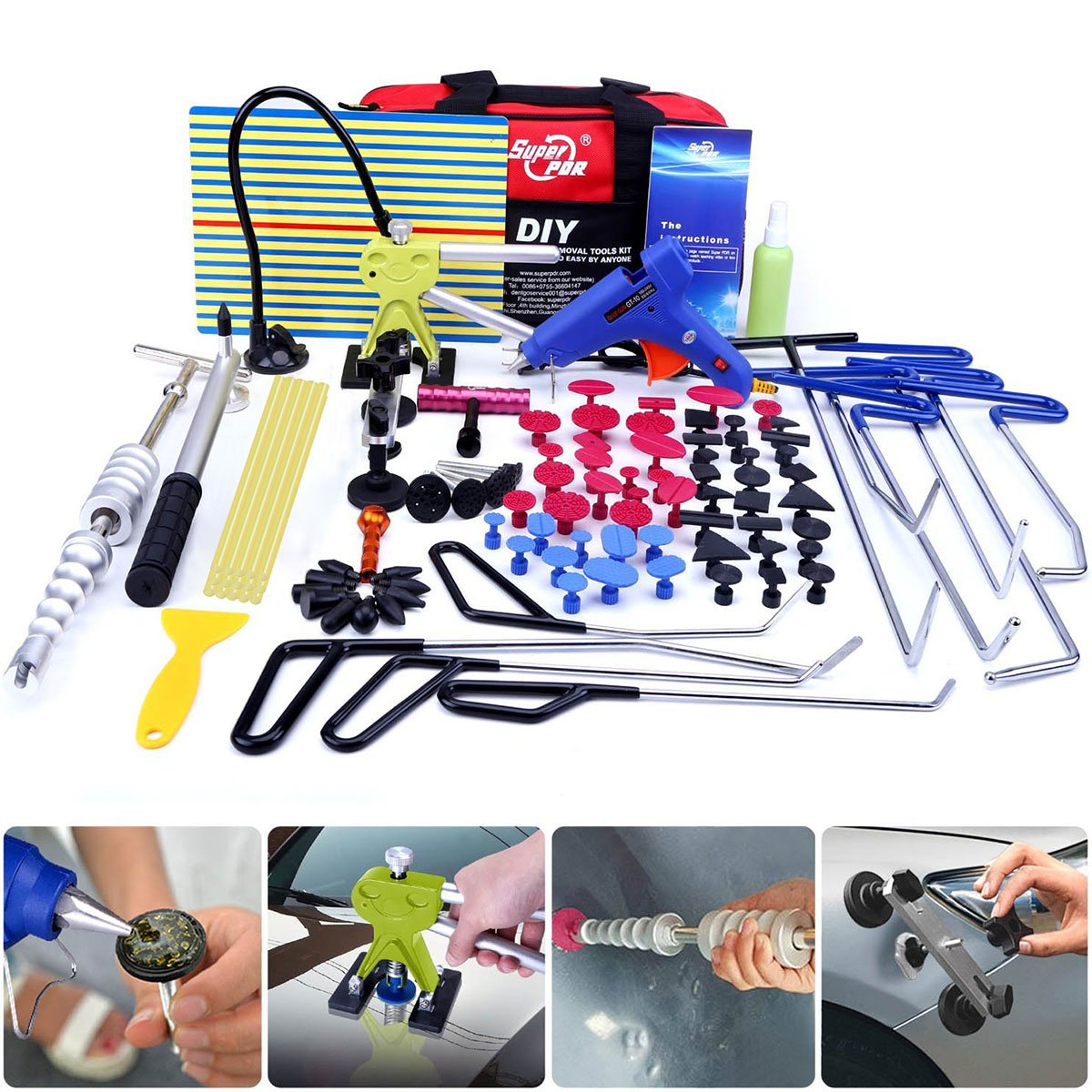 Super PDR 91Pcs PDR Rod Tools Kit Professional Hail Damage Door Ding Repair Kit Car Auto Body Paintless Dent Repair Removal Tool Set PDR Dent Puller kit Slide Hammer Push Rods