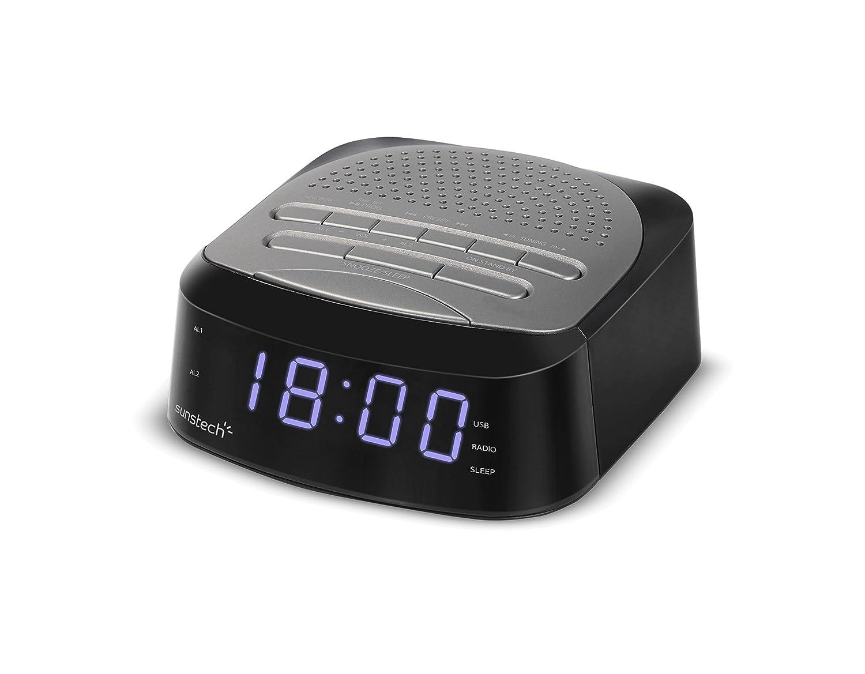 Sunstech FRD40BT - Radio Despertador con 50 presintonías (Bluetooth V 4.0, Alarma Dual, función Sleep, USB y conexión Auriculares), Color Titanio