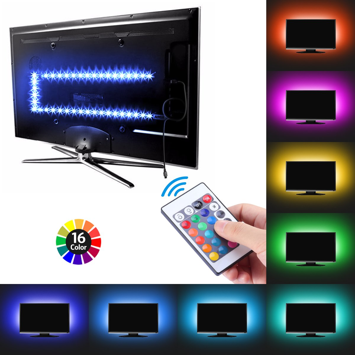 AMIR TV LED Light Strip, 30 LED TV Backlight Strip, USB Bias Monitor Lighting, Changing Color Strip Kit , Accent Light Set , Waterproof Bias Lighting For TV Desktop PC (Wireless remote controller) by AMIR (Image #4)