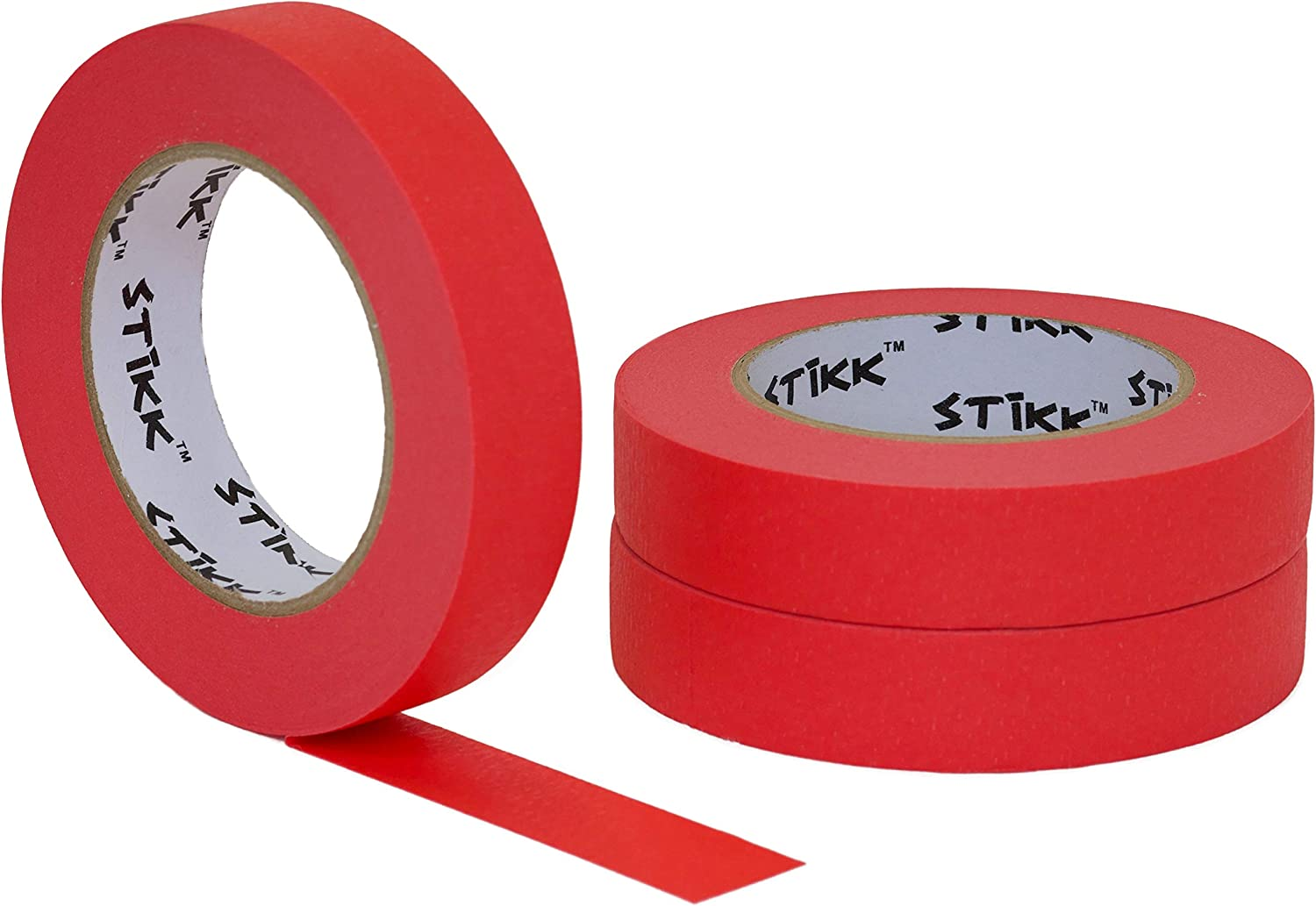 "3 pk 1/"" inch x 60yd STIKK Red Painters Tape 14 Day Easy Removal Trim Edge Finish"
