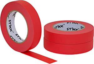 """3 pk 1"""" inch x 60yd STIKK Red Painters Tape 14 Day Easy Removal Trim Edge Finishing Decorative Marking Masking Tape (.94 IN 24MM)"""
