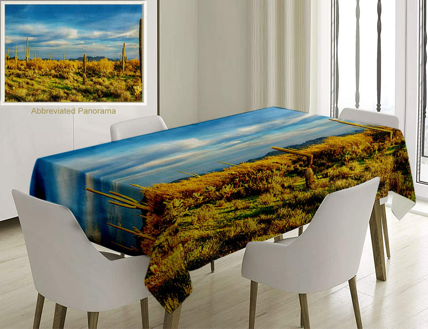 Unique Custom Cotton And Linen Blend Tablecloth Saguaro Cactus Decor Floral Cactus Catching The Last Sunrays Day Lights Long Life Western Plant YellowTablecovers For Rectangle Tables, 60 x 40 Inches