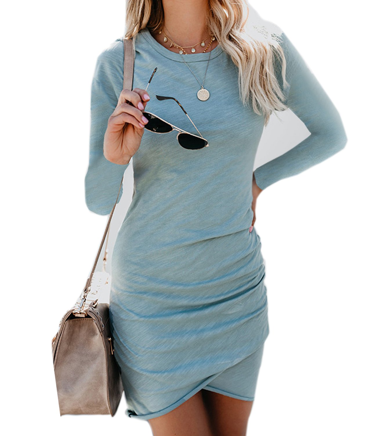 Mansy Women's Long Sleeve Tulip Bodycon Dress Ruched Short Mini Dresses