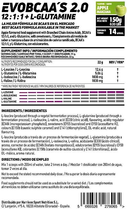 HSN BCAA con Glutamina Evobcaas 2.0 | Aminoácidos Ramificados Ratio 12:1:1 (L-Leucina + L-Valina + L-Isoleucina) | Recuperación y Ganar Masa Muscular ...