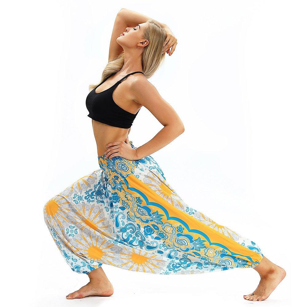 MERICAL Pantalon de Yoga d/écontract/é d/ét/é pour Femmes Baggy Boho Aladdin Jumpsuit Sarouel