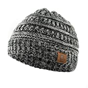 Century Star Christmas Beanie Baby Knit Hat Boys Infant Toddler Beanies Cute Winter Hats for Baby Unisex 1 Pack Dark Grey