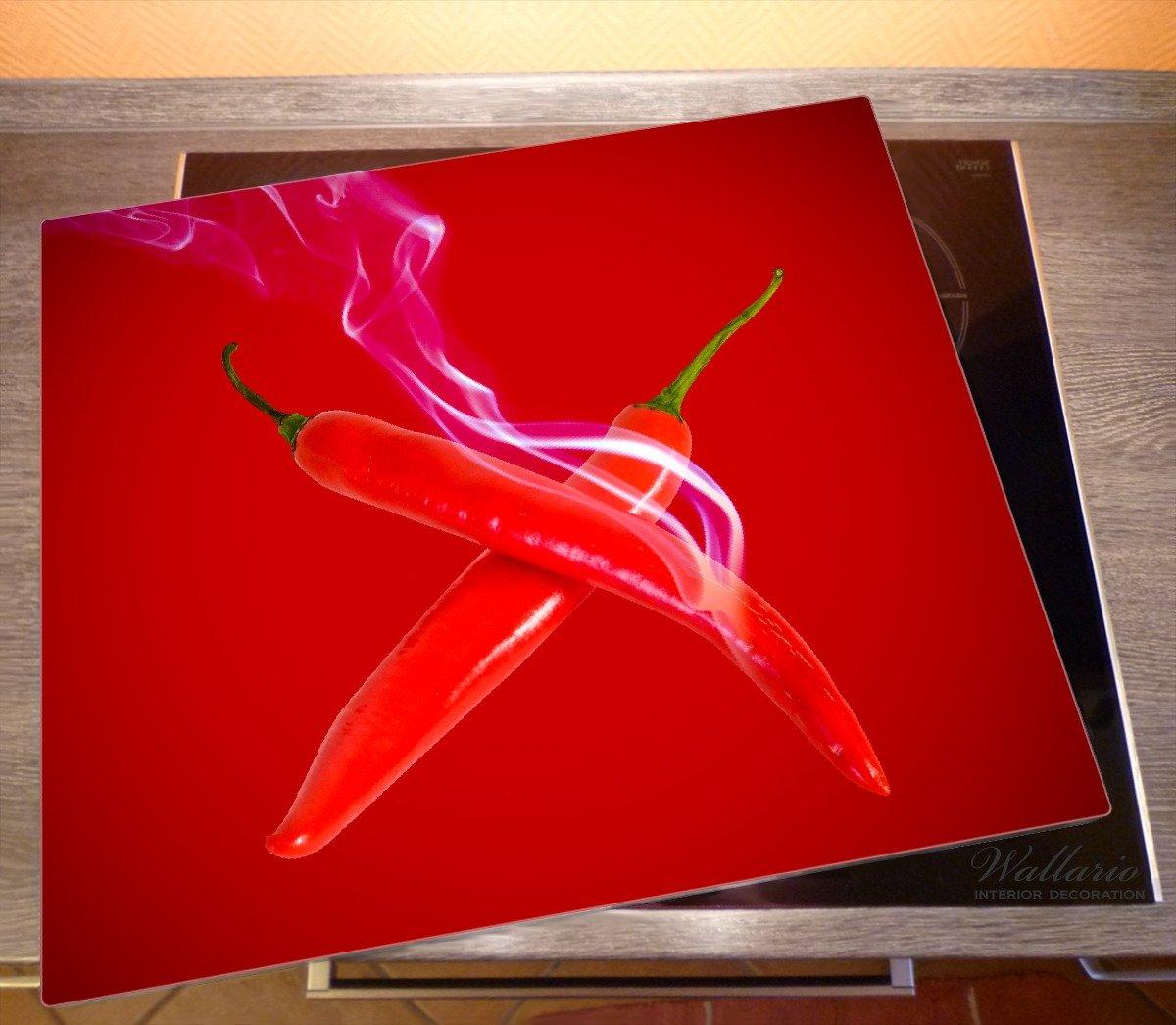 80x52cm Rauchende Chili-Schote an Wallario Herdabdeckplatte 1-teilig aus Glas