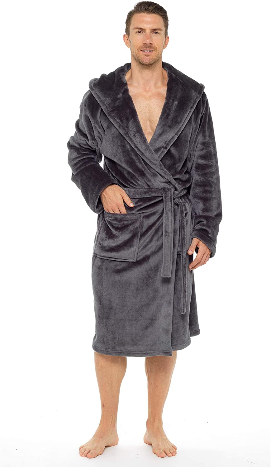 Mens Dressing Gown Super Soft Mens Fleece Robe with Hood Gowns Bathrobe Warm and Cozy/…
