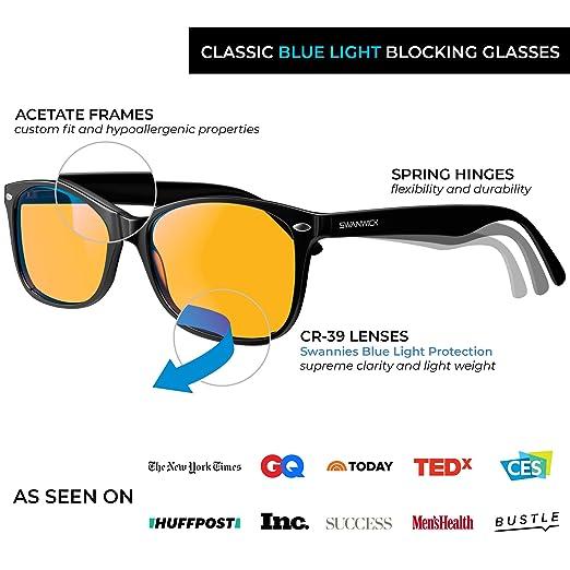 eeebd93f0c87 Amazon.com  Swannies Blue Light Blocking Glasses - Gamer and Computer  Eyewear for Deep Sleep and Digital Eye Strain Prevention - by Swanwick  Sleep (Black) ...