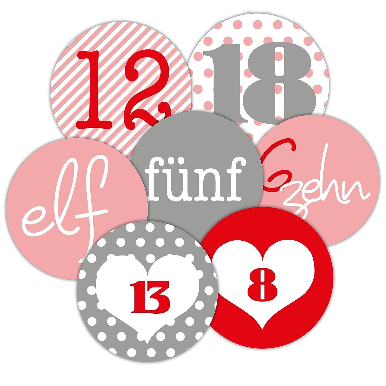 Frau WUNDERVoll® Adventskalenderzahlen in liebevoll gestalteten Designs 48 Aufkleber, für 2 Kalender, grau, Durchmesser 4 cm für 2 Kalender