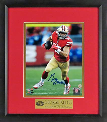 "300ddab66 Amazon.com  SF 49ers George Kittle Autographed 8x10 Photograph (w   ""Receiving Yards Record"" Plate) Framed  Sports Collectibles"