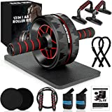 13-in-1 Ab Roller Wheel Kit with Knee Pad, Resistance Bands, Push-Up Bar, Jump Rope, Core Strength & Abdominal Home Gym…