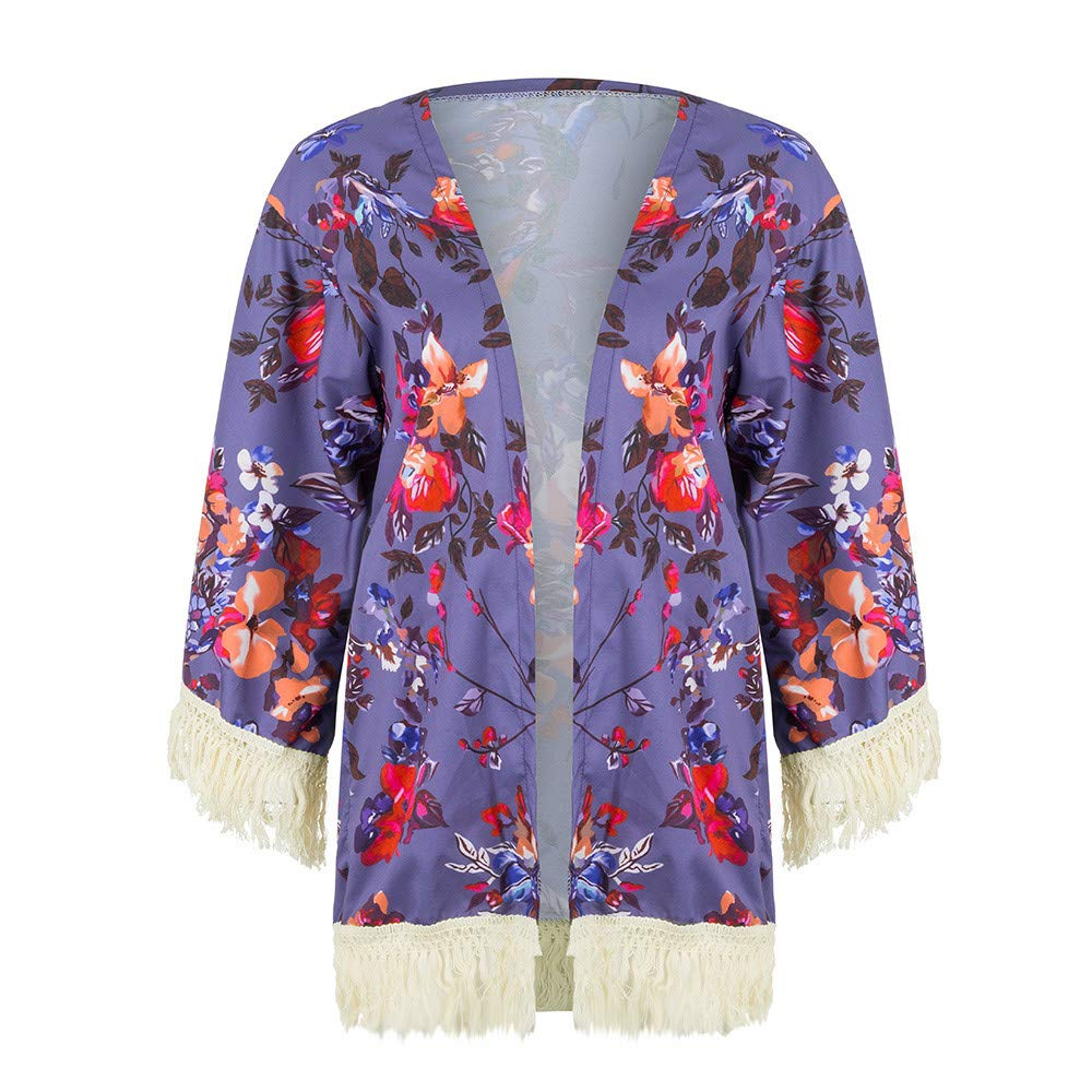 NUWFOR Womens Three Quarter Sleeve Floral Printed Shawl Tassel Kimono Cover Up Cardigan(Purple,L) by NUWFOR (Image #4)