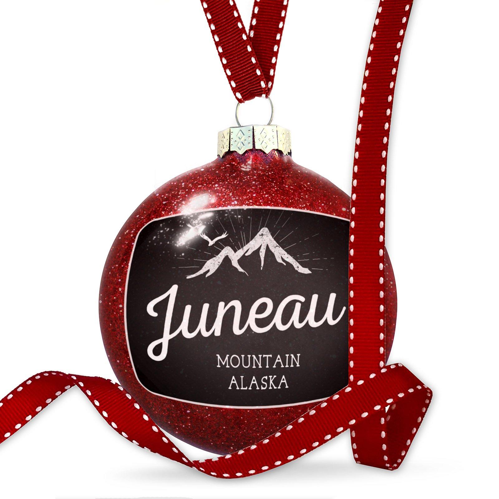 Christmas Decoration Mountains chalkboard Juneau Mountain - Alaska Ornament