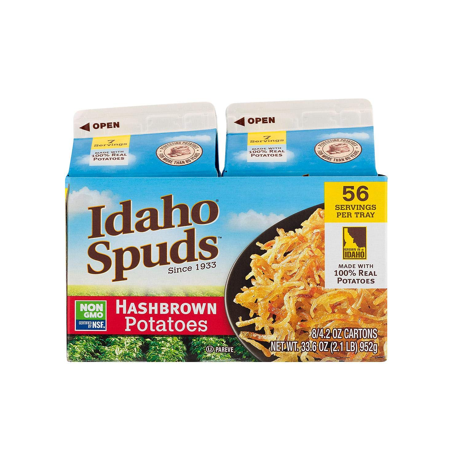Idaho Spuds Real Potato, Gluten Free, Golden Grill Hashbrowns 4.2oz - PACK OF 16