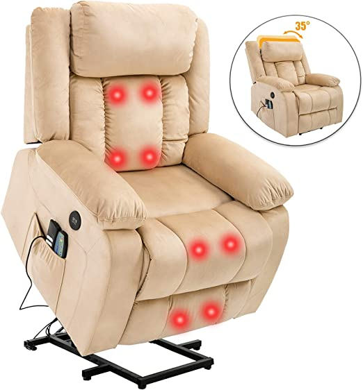 Mecor Power Lift Recliner Lift Chair for Elderly with Adjustable Headrest Massage Recliner Chair with Heating System for Living Room (Beige)