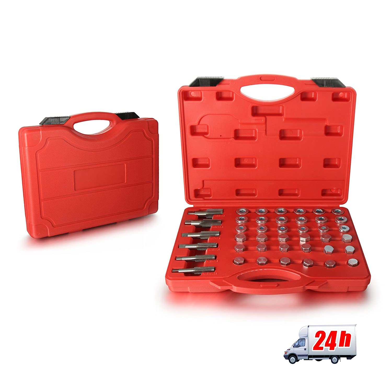 Madlife Garage Professional Oil Pan Thread Sump Gearbox Repair Set Kit With Drain Plug Tool Set(114 Pcs)