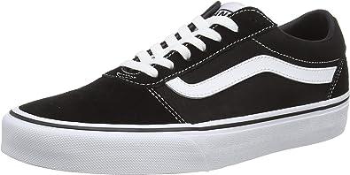 Vans Men's Low Top Sneakers, Black Suede Canvas Black White C24, 10 UK