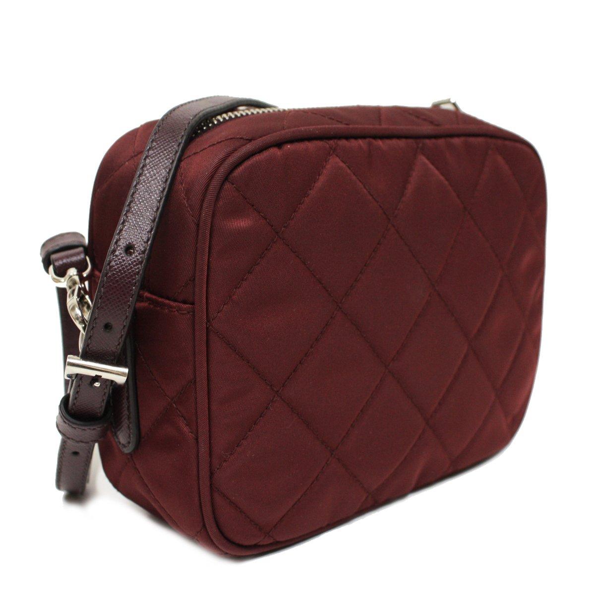 097de7ceb045 Prada Tessuto Impuntu Quilted Nylon and Leather Crossbody Shoulder Bag  BT1028 - Burgundy Crimson Red  Handbags  Amazon.com