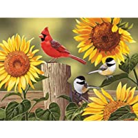Bits and Pieces - 300 Large Piece Jigsaw Puzzle for Adults - Sunflower and Songbirds - 300 pc Cardinal Jigsaw by Artist…