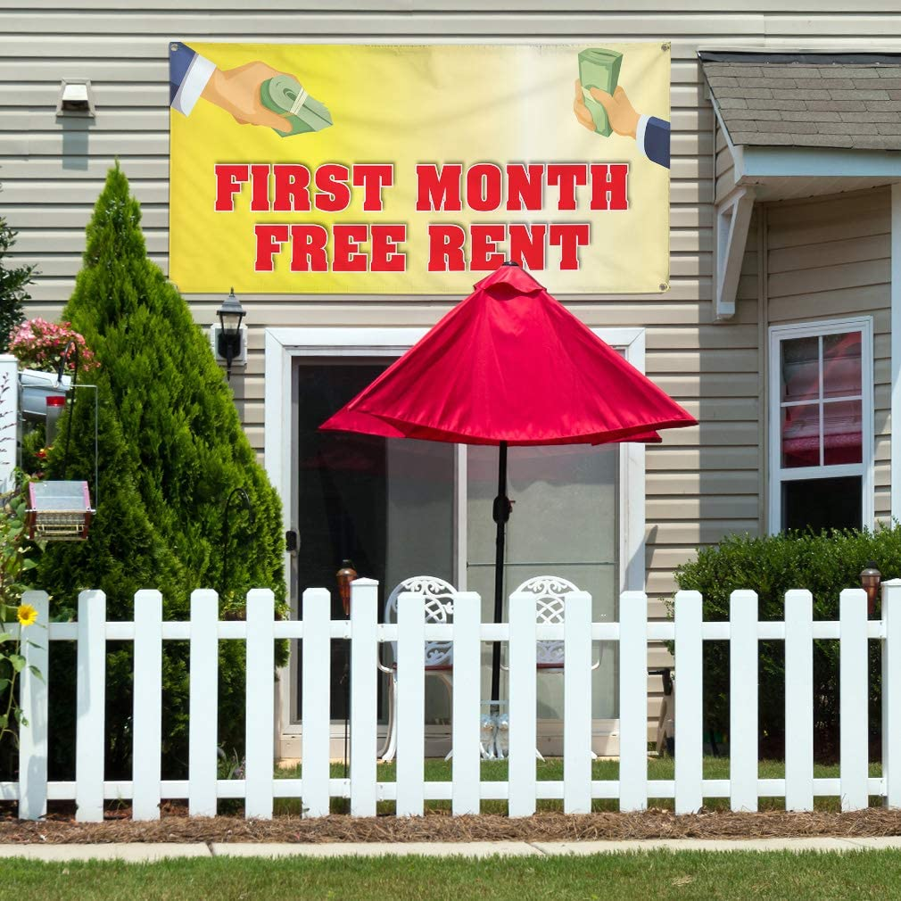 Vinyl Banner Multiple Sizes First Month Free Rent Advertising Printing J Business Outdoor Weatherproof Industrial Yard Signs 8 Grommets 48x96Inches