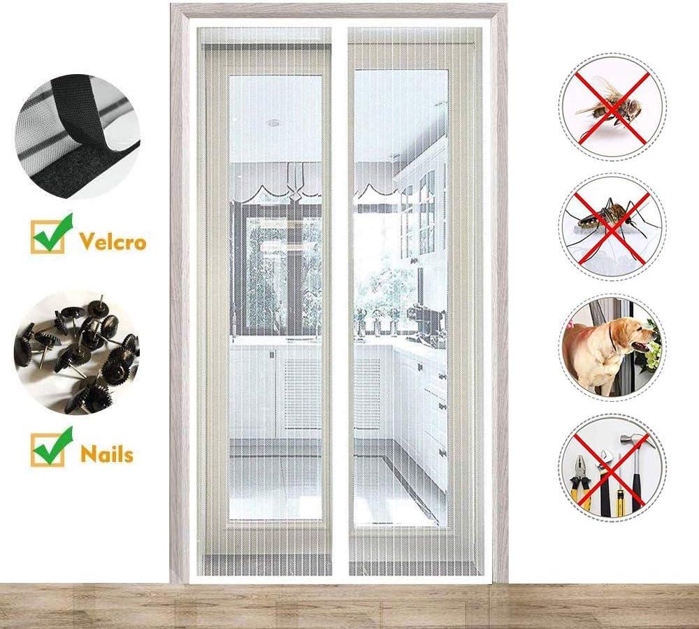 CHENG Mosquitera Magnética para Puertas 120x195cm, Cortina Magnética para Puerta, Adsorción magnética Plegable Fácil de Instalar, para Pasillos/ Puertas/Ventanas, Blanco: Amazon.es: Hogar