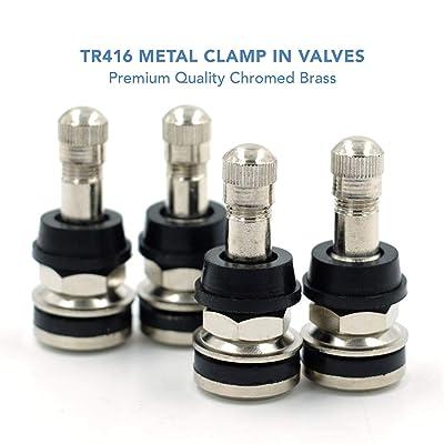 """CKAuto 4 Pieces TR416 Metal Valve Stems Outer Mount Fits .453"""" & .625"""" Rim Holes Long 1 1/2"""", Silver: Automotive"""