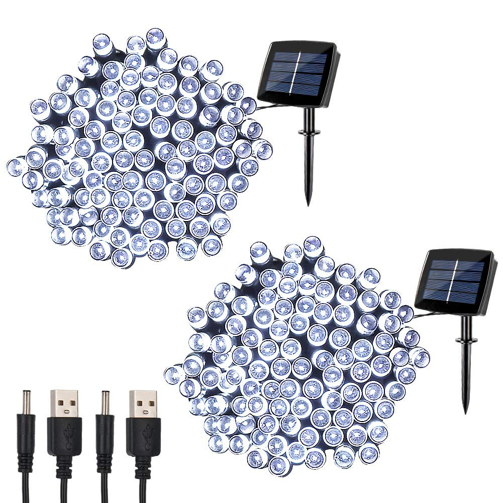 woohaha Solar Fairy String Lights Outdoor Waterproof, 2 Pack 72ft 200LED Updated Version 6hrs Timer Function with USB Cable Solar Powered String Lights for Christmas Patio Garden Party(Cool White)