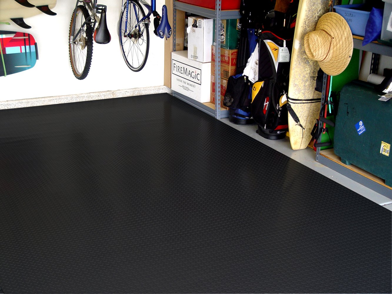 Various Sizes Available RoughTex Diamond Deck 86057 Charcoal Textured Roll Out Garage Floor Mat