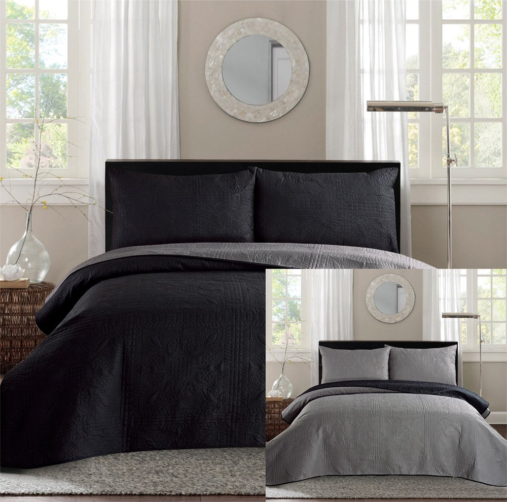 New King / Cal King Bed Luxury 3-piece Black / Grey Reversible Bedspread Coverlet set Solid Embossed Bedding set