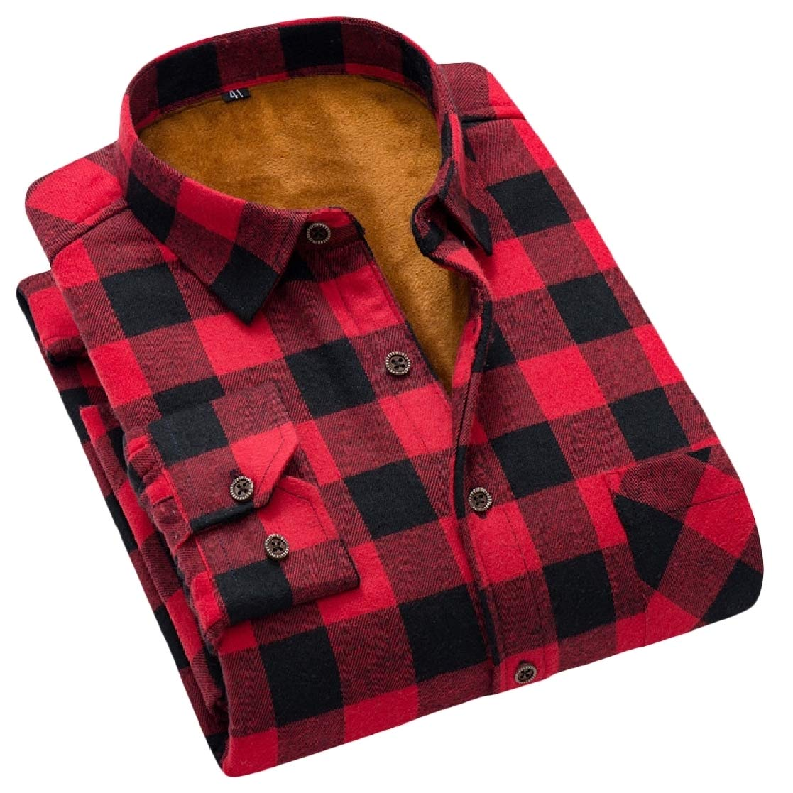 YUNY Mens Thick Plus Velvet Keep Warm Japanese Fit Long-Sleeve Plaid Pattern Shirts AS4 2XL