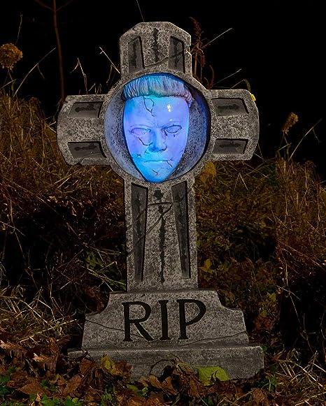 Horror Shop Michael Myers Grabstein Leuchtend 90 Cm Als Gruselige Halloween Dekoration Amazon De Spielzeug