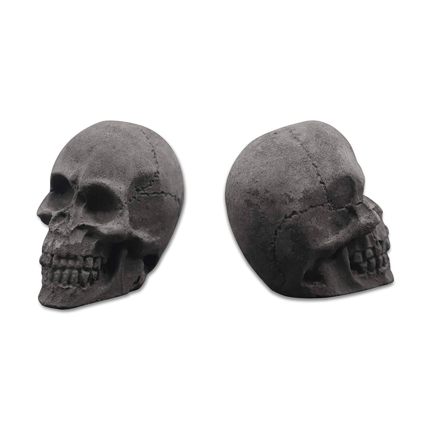 Trees/&Forrest FiveTop Imitated Human Skull Gas Log for Indoor or Outdoor Fireplace Fire Pits Halloween Decor Charcoal 6-Pack Dark Gray