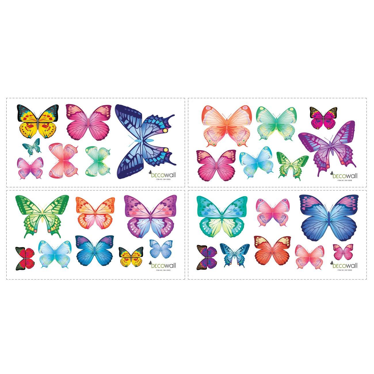 Decowall DW-1302 30 Leuchtende Schmetterlinge Tiere Wandtattoo Wandsticker Wandaufkleber Wanddeko f/ür Wohnzimmer Schlafzimmer Kinderzimmer