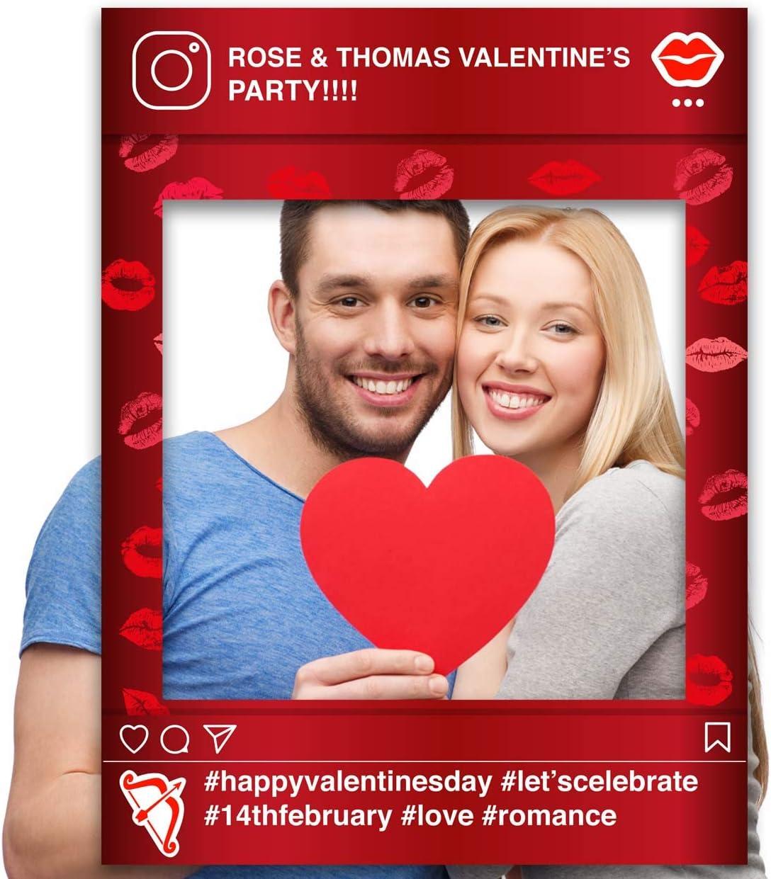 Valentines Facebook Pink Hearts Paper Themes Personalised Valentines Selfie Frame