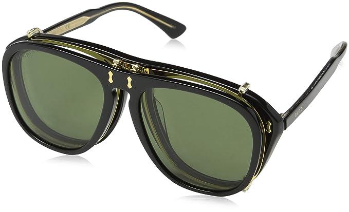 Gucci GG0128S 005 Gafas de sol, Negro (Black/Green), 56 para ...