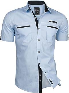 SSLR Camisa Manga Corta de Algodón Estampado de Anclas Casual para ...