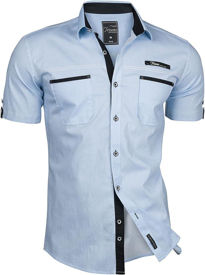 Trisens - Camisa de manga corta para hombre - A rayas - Estilo polo - Ajuste ceñido - Algodón azul claro M: Amazon.es: Ropa y accesorios