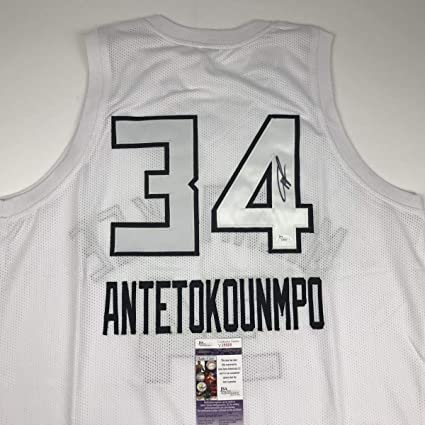 166ef613e Autographed Signed Giannis Antetokounmpo 2018 All-Star Game Milwaukee White  Basketball Jersey JSA COA at Amazon s Sports Collectibles Store