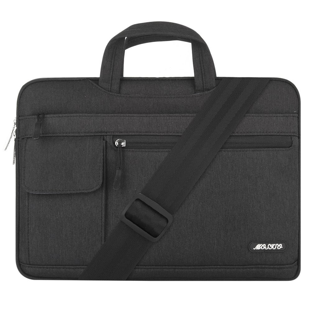 MOSISO Laptop Shoulder Bag Compatible 15 Inch New MacBook Pro with Touch Bar A1990 & A1707 2018 2017 2016, Also Compatible 14 Inch Notebook, Polyester Flapover Briefcase Handbag Sleeve Case, Black