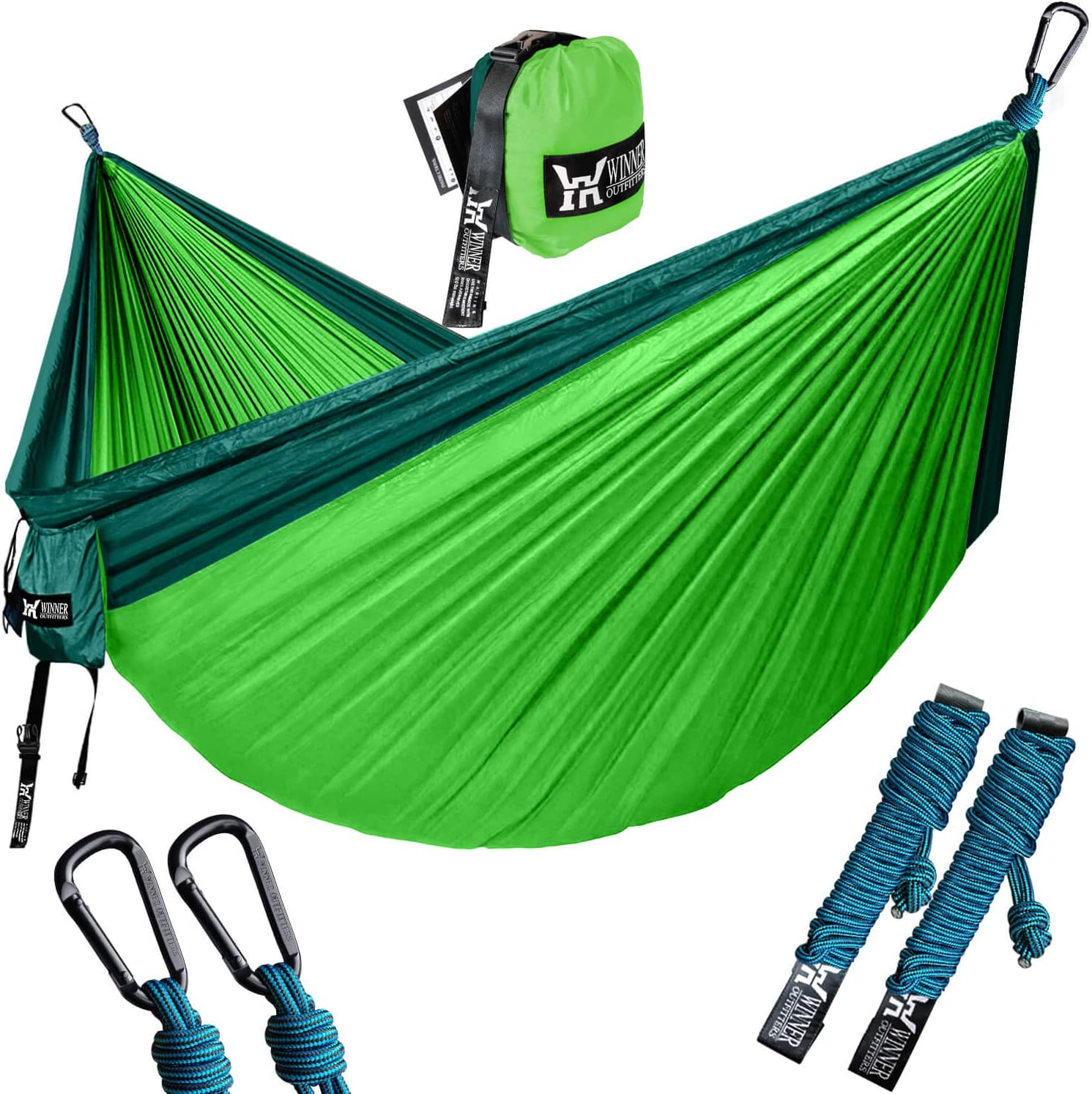 Winner Outfitters Double Camping Hammock – Lightweight Nylon Portable Hammock, Best Parachute Double Hammock For Backpacking, Camping, Travel, Beach, Yard. 118 L x 78 W , Dark Green Green Color