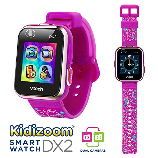 Vtech 80-193837 Kidizoom Smart Watch DX2 - Reloj inteligente para niños con doble cámara, color morado con flores