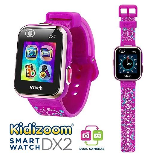 VTech Kidizoom Smart Watch DX2 - Reloj inteligente para niños con doble cámara, color morado con flores (80-193837)