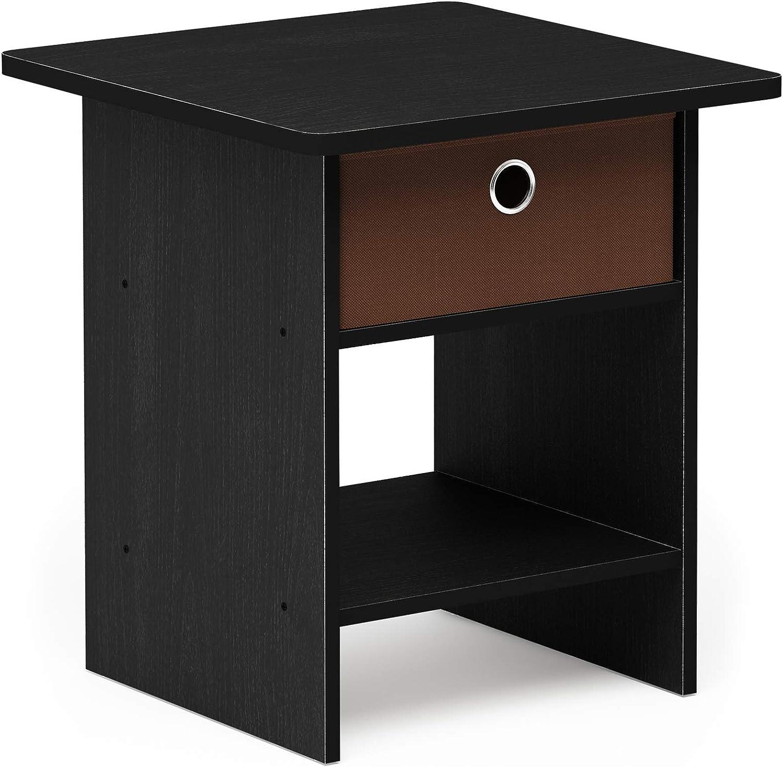 FURINNO Dario End Table/Night Stand Storage Shelf, 1-Pack, Americano/Medium Brown