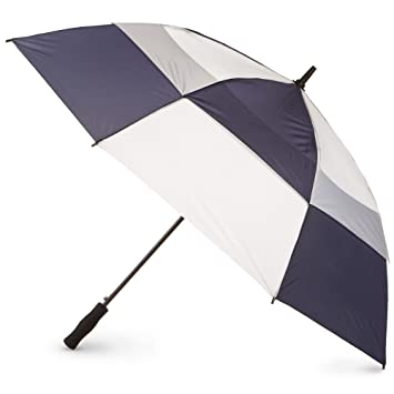 c6fa375bedab Totesport Automatic Vented Canopy Stick Umbrella, Navy/White, One Size