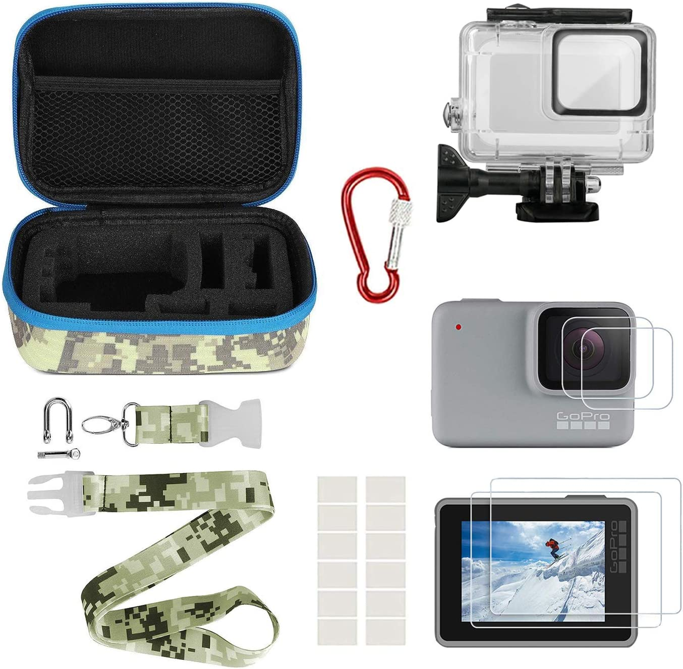 Kitspeed Accessories kit for GoPro Hero 10 White/Silver, Including  Waterproof Housing Case/Portable Small Carrying case/Screen